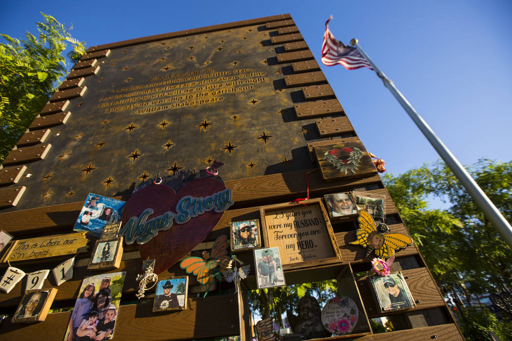 A wall featuring a quote from William Shakespeare at the Las Vegas Healing Garden in Las Vegas ...