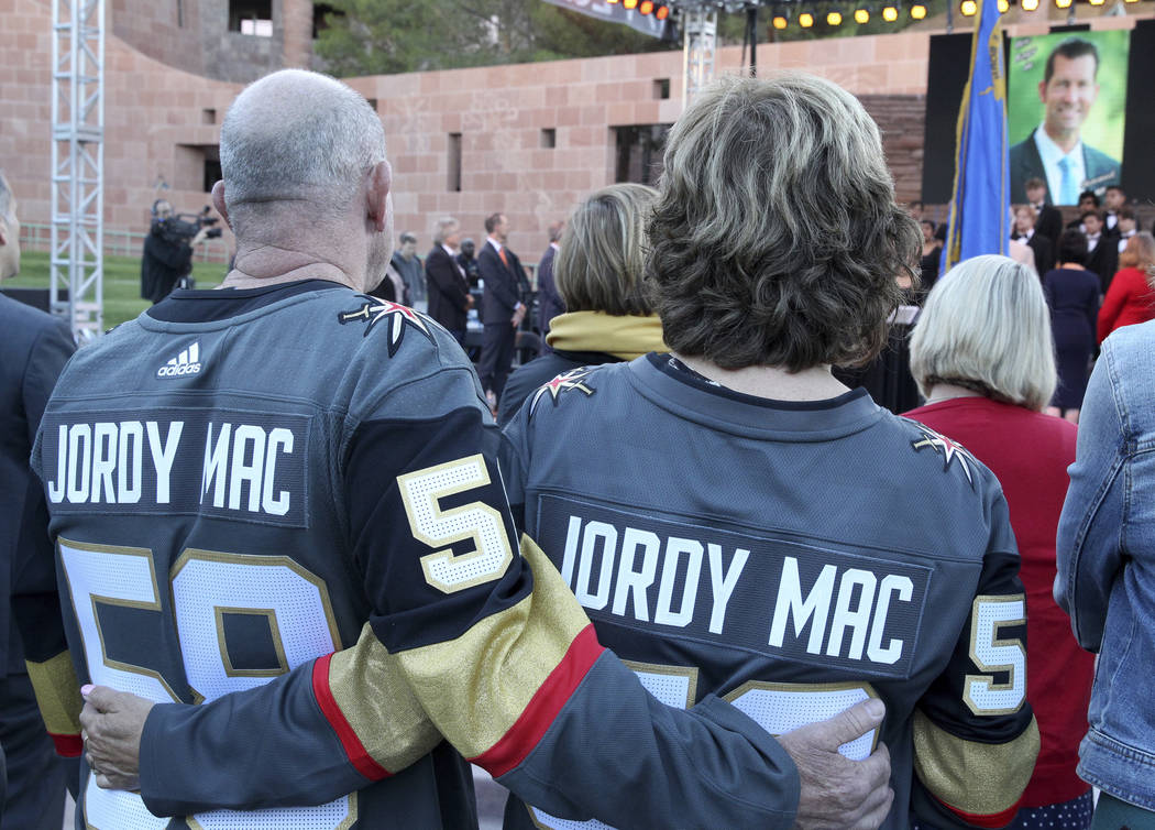 Al and Angela McIldoon, of Canada, parents of Jordan McIldoon who was killed in the Oct. 1, 201 ...