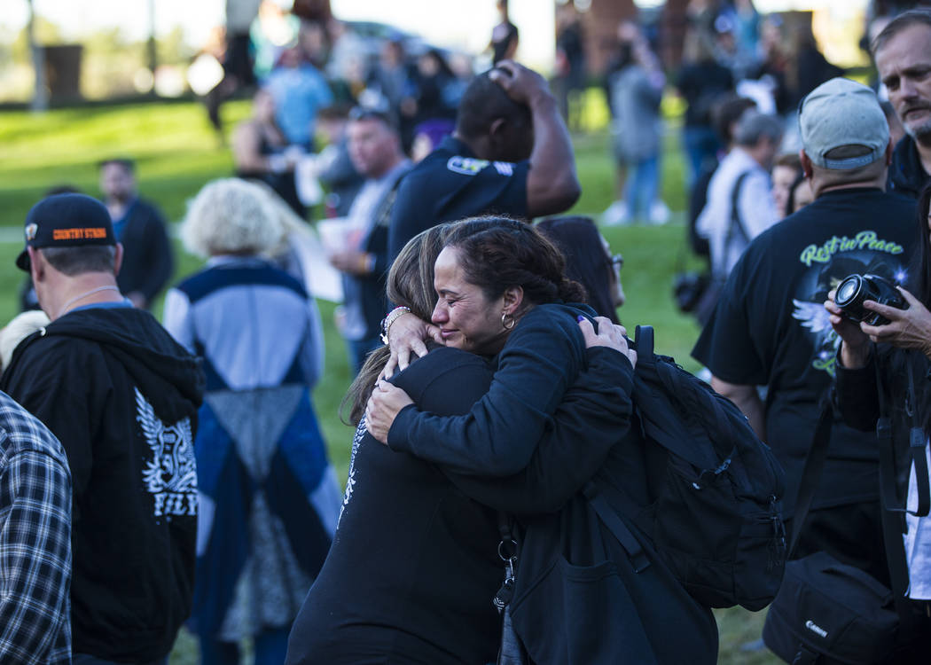 Route 91 Harvest festival survivors Gloria Noble, of Los Angeles, center right, and Connie Long ...