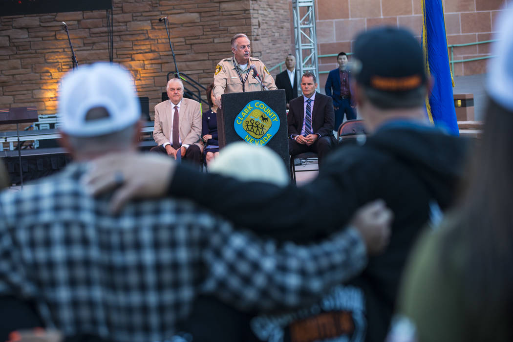 Clark County Sheriff Joe Lombardo speaks during a sunrise ceremony in remembrance of the 58 vic ...
