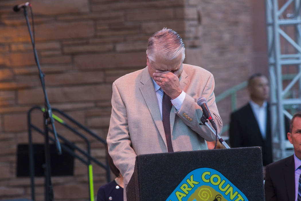 Gov. Steve Sisolak reacts while speaking during a sunrise ceremony in remembrance of the 58 vic ...