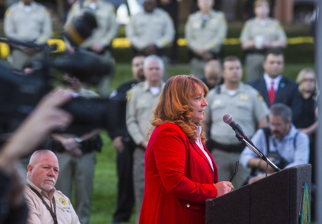 Clark County Commission Chairwoman Marilyn Kirkpatrick speaks during a sunrise ceremony in reme ...