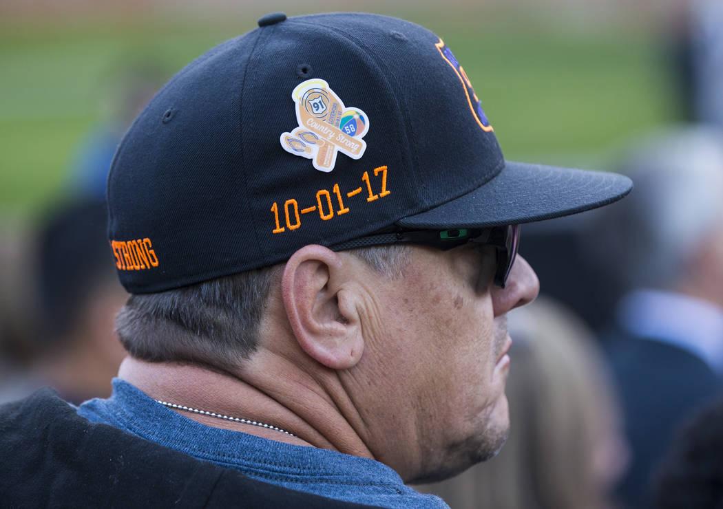 Route 91 Harvest festival survivor Pete Crozer, of Riverside, Calif., looks on after a sunrise ...