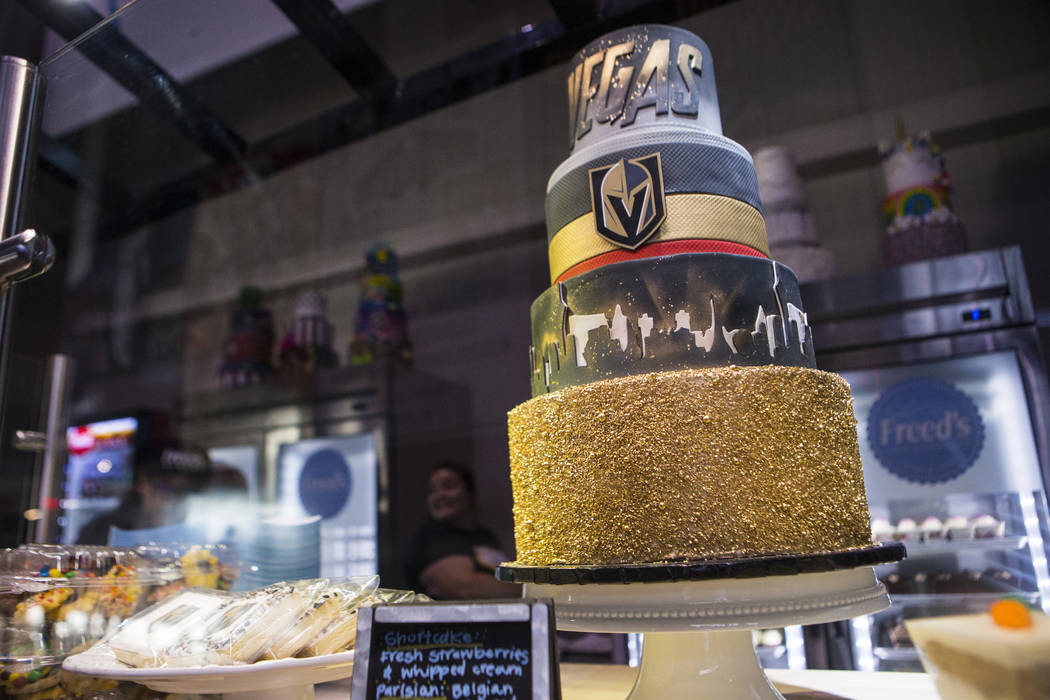 A cake on display at Freed's Bakery before the start of a Golden Knights NHL hockey game agains ...
