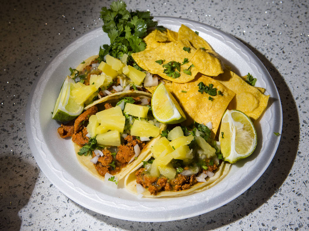 A trio of tacos from Latin Fusion Grill is seen before the start of a Golden Knights NHL hockey ...