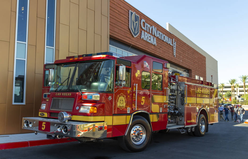 A Las Vegas Fire truck is parked outside City National Arena as the Vegas Golden Knights honor ...