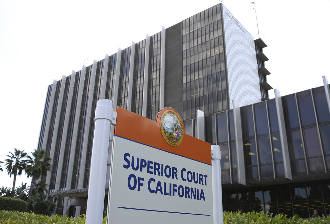 Orange County Superior Court of California on Tuesday, Oct. 1, 2019, in Santa Ana, Calif. (Bizu ...