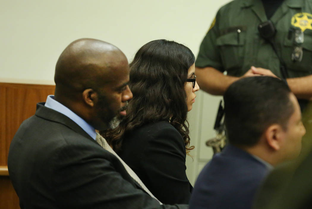 Bani Duarte, center, appears in court during her trial in Orange County Superior Court on Tuesd ...