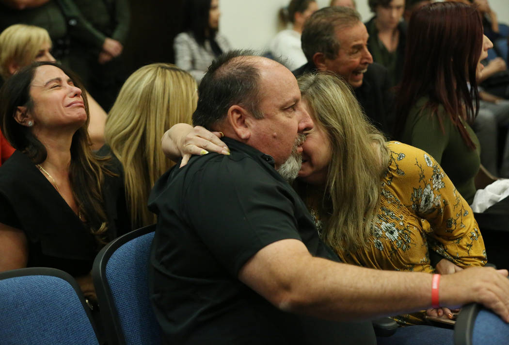 Rhonda Hawley, right, and her husband Aaron, the parents of Brooke Hawley, one of the teens kil ...