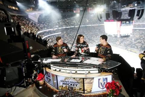 Alyson Lozoff, the rinkside reporter for the Vegas Golden Knights, center, speaks to fellow hos ...