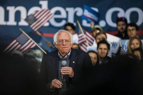 Democratic presidential candidate Sen. Bernie Sanders, I-Vt., pauses while speaking at a campai ...
