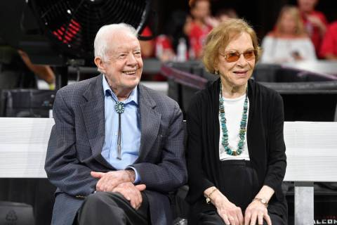 In a Sept. 30, 2018, file photo, former President Jimmy Carter and Rosalynn Carter are seen ahe ...