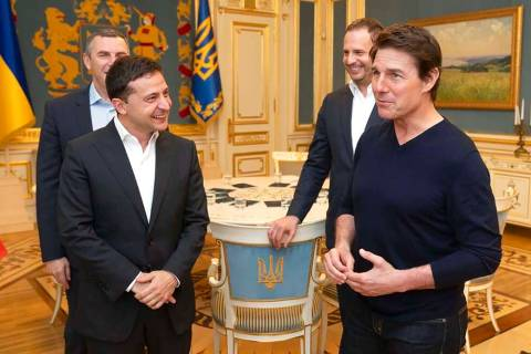 Ukrainian President Volodymyr Zelenskiy and American actor, film director and producer Tom Crui ...