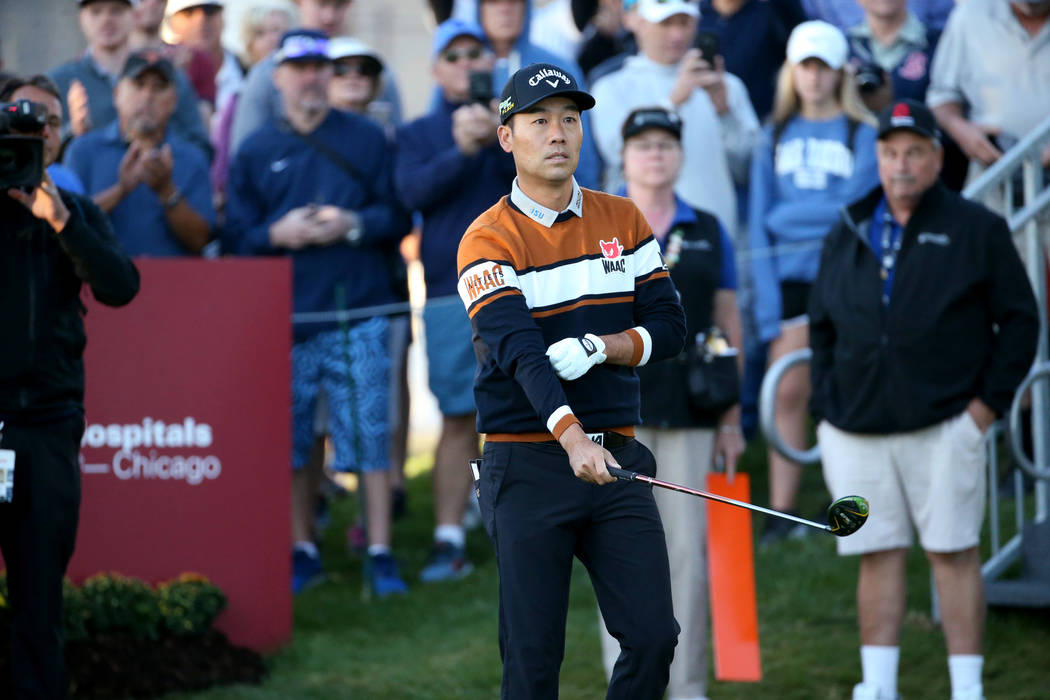 Kevin Na prepares to tee off on the 10th hole during Shriners Hospitals for Children Open at TP ...