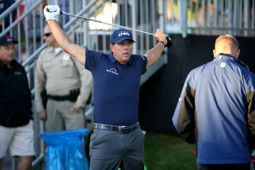 Phil Mickelson warms up on the 10th tee during Shriners Hospitals for Children Open at TPC Summ ...