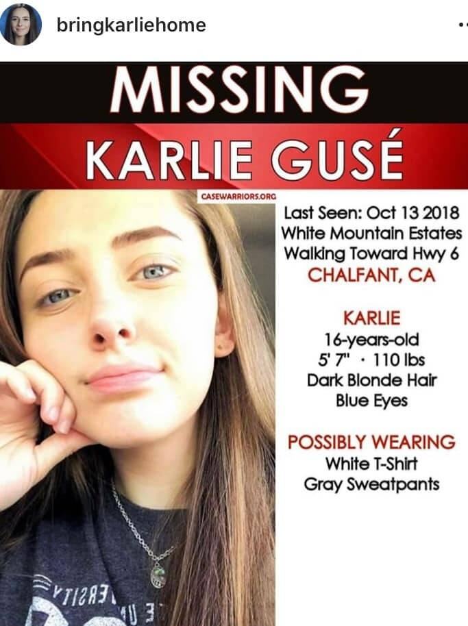 A poster seeking information on the disappearance last October of Karlie Guse.