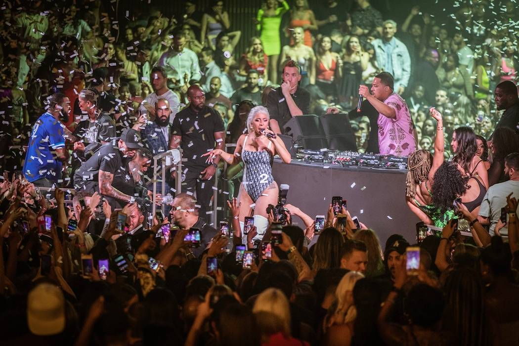Cardi B performs at Kaos Dayclub and Nightclub at the Palms on Saturday, June 15, 2019. (Tony Tran)