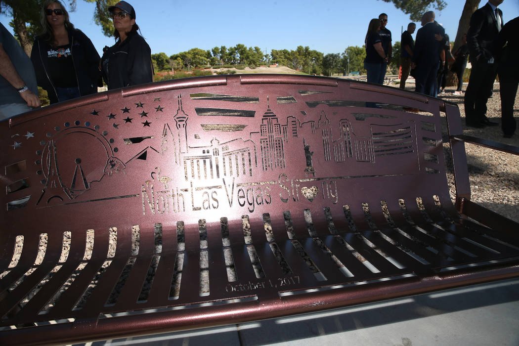 The City of North Las Vegas unveiled a bench in tribute to the 58 victims of the Route 91 Harve ...