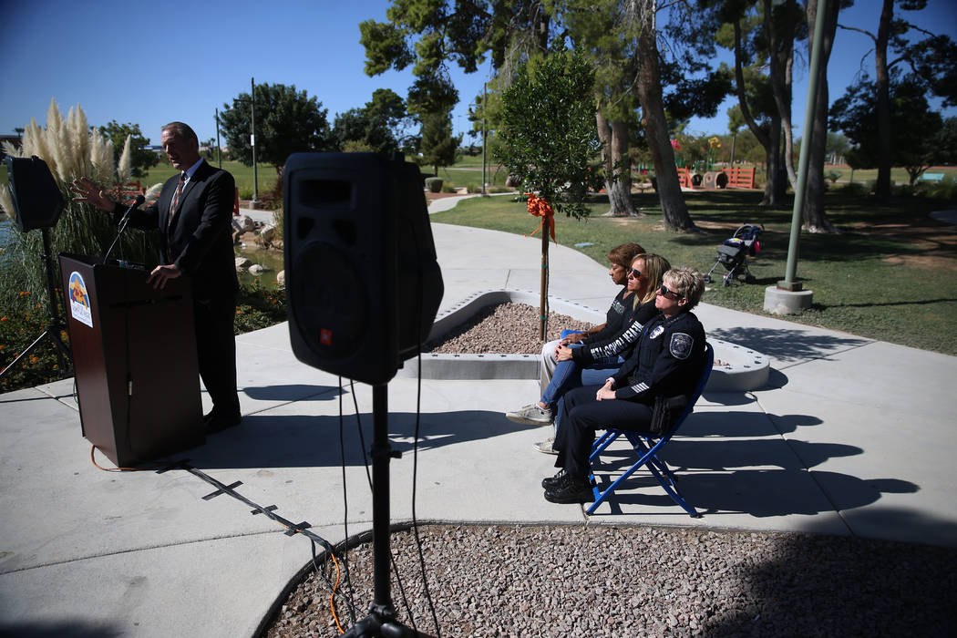 City of North Las Vegas Mayor John Lee, left, speaks during ceremony in remembrance of the 58 v ...