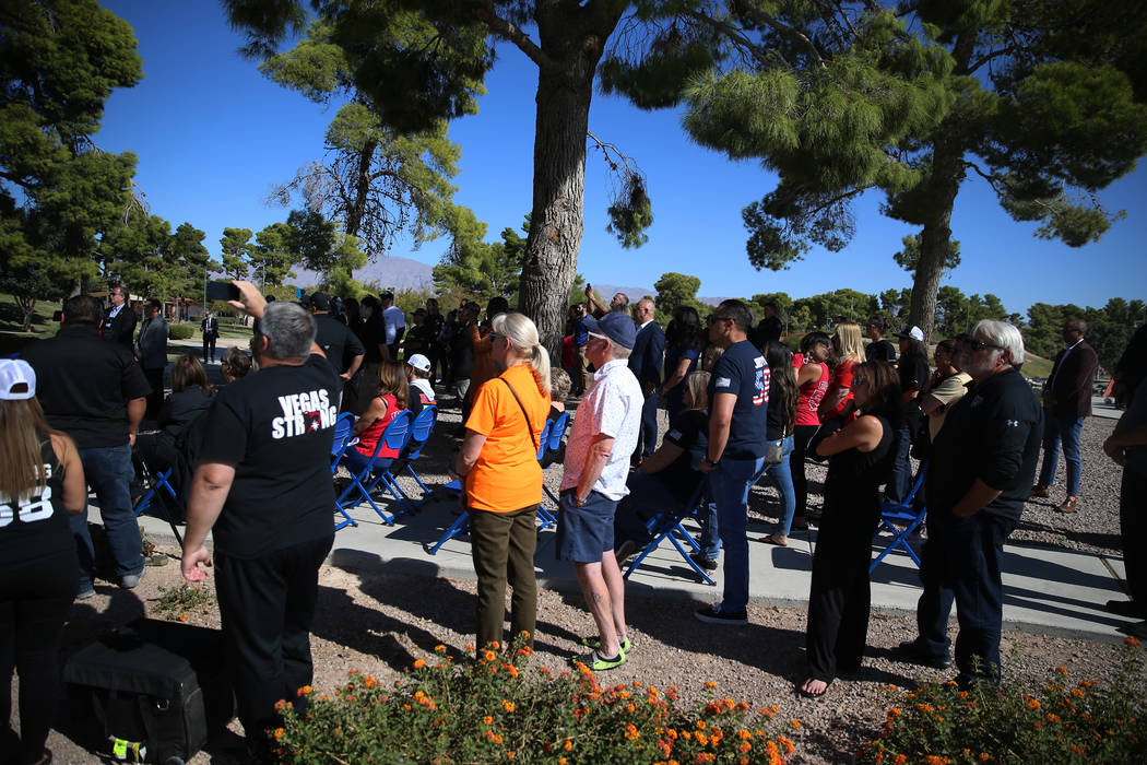 People attend a City of North Las Vegas ceremony in remembrance of the 58 victims of the Route ...