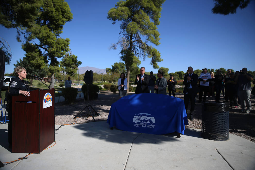 North Las Vegas Police Department Chief Pamela Ojeda speaks during ceremony in remembrance of t ...