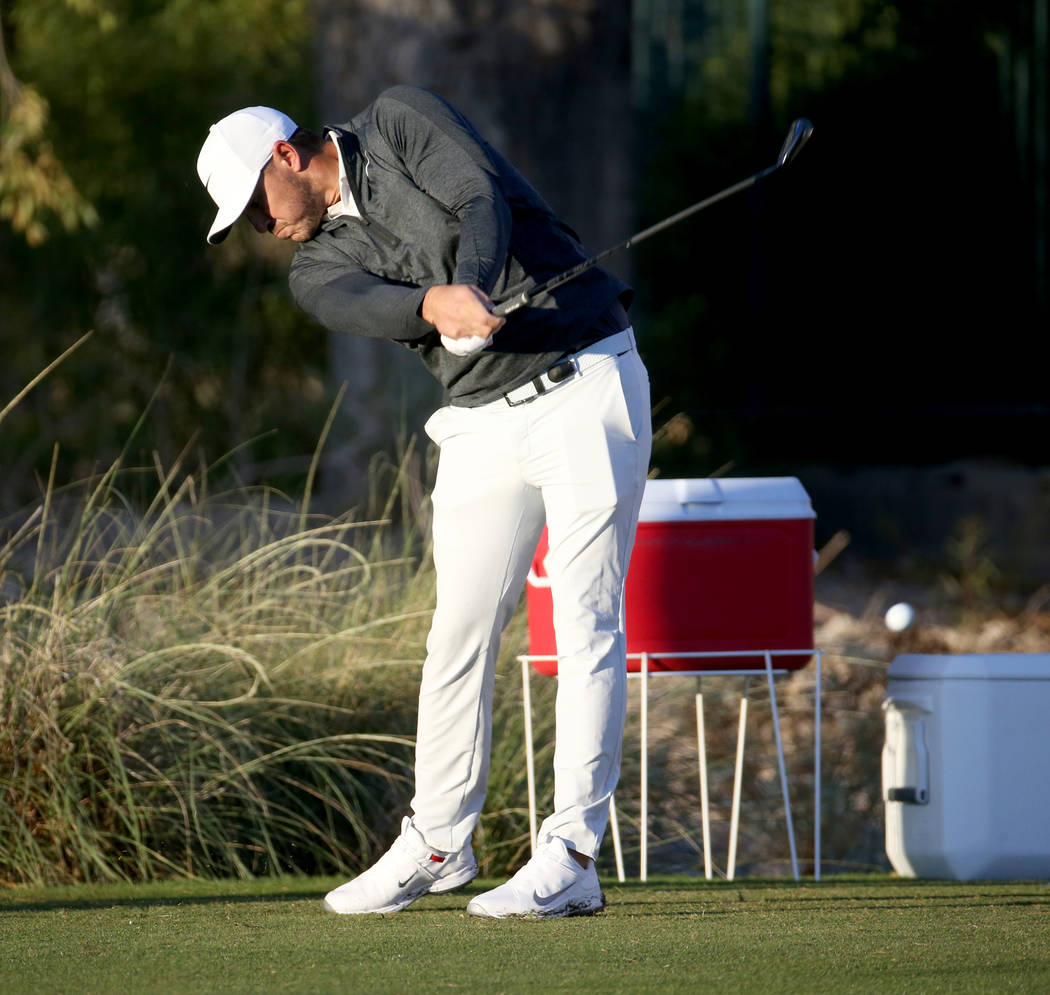 Brooks Koepka hits on the 12th tee during the Shriners Hospitals for Children Open Pro-Am at TP ...