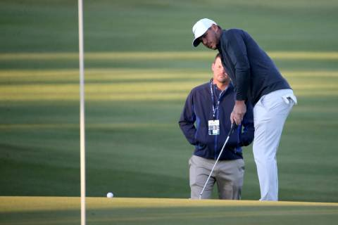 Brooks Koepka hits on the 11th green during the Shriners Hospitals for Children Open Pro-Am at ...