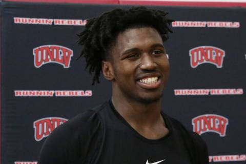 UNLV Rebels forward Donnie Tillman talks to the media after team's first basketball practice of ...