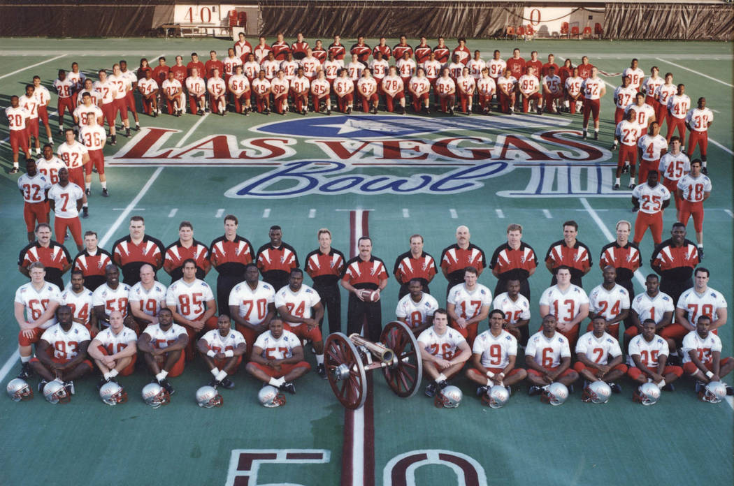 UNLV's team photo from the 1994 Las Vegas Bowl. The Rebels would beat Central Michigan 52-24. P ...