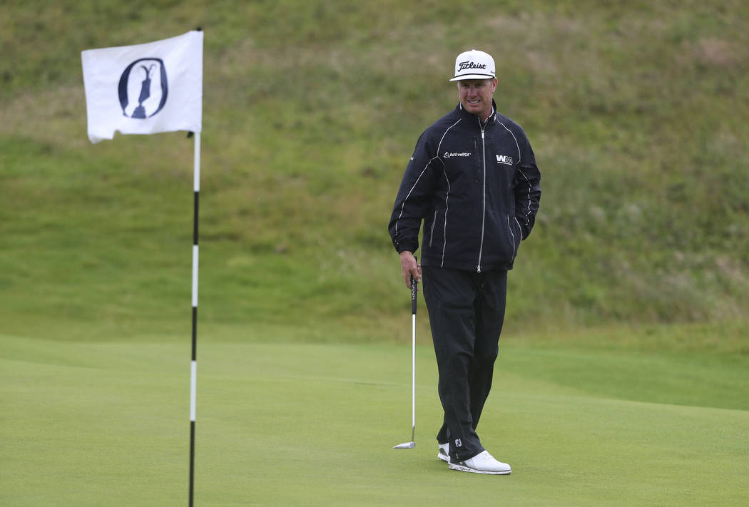 Charley Hoffman of the United States looks at the 12 green during a practice round ahead of the ...