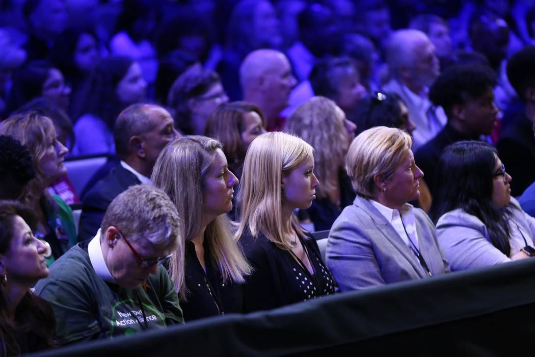 People listen to Gov. Steve Sisolak speak during the 2020 presidential gun safety forum at The ...