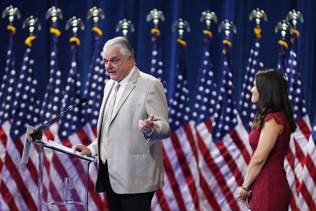 Gov. Steve Sisolak, left, with Nevada Assemblywoman Sandra Jauregui, a Route 91 Harvest musica ...