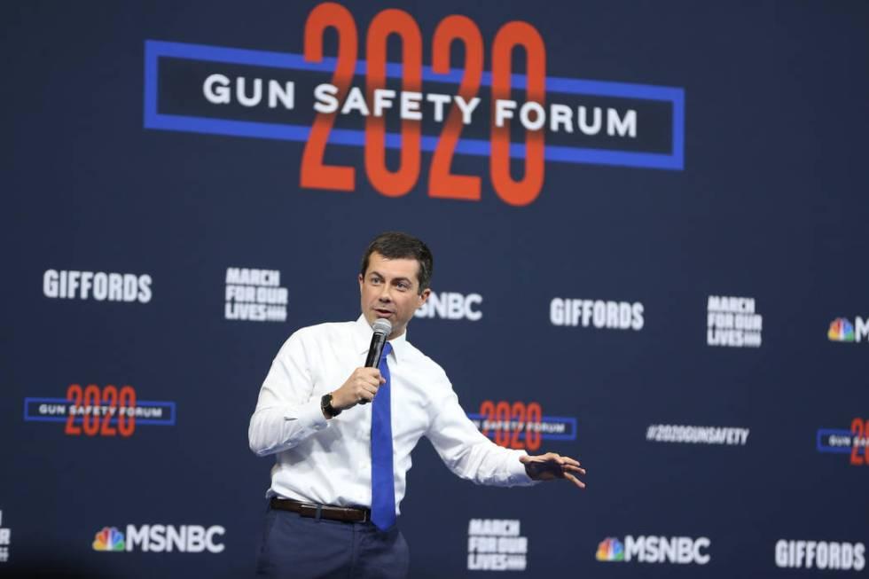 Democratic presidential candidate Pete Buttigieg speaks during the 2020 presidential gun safety ...