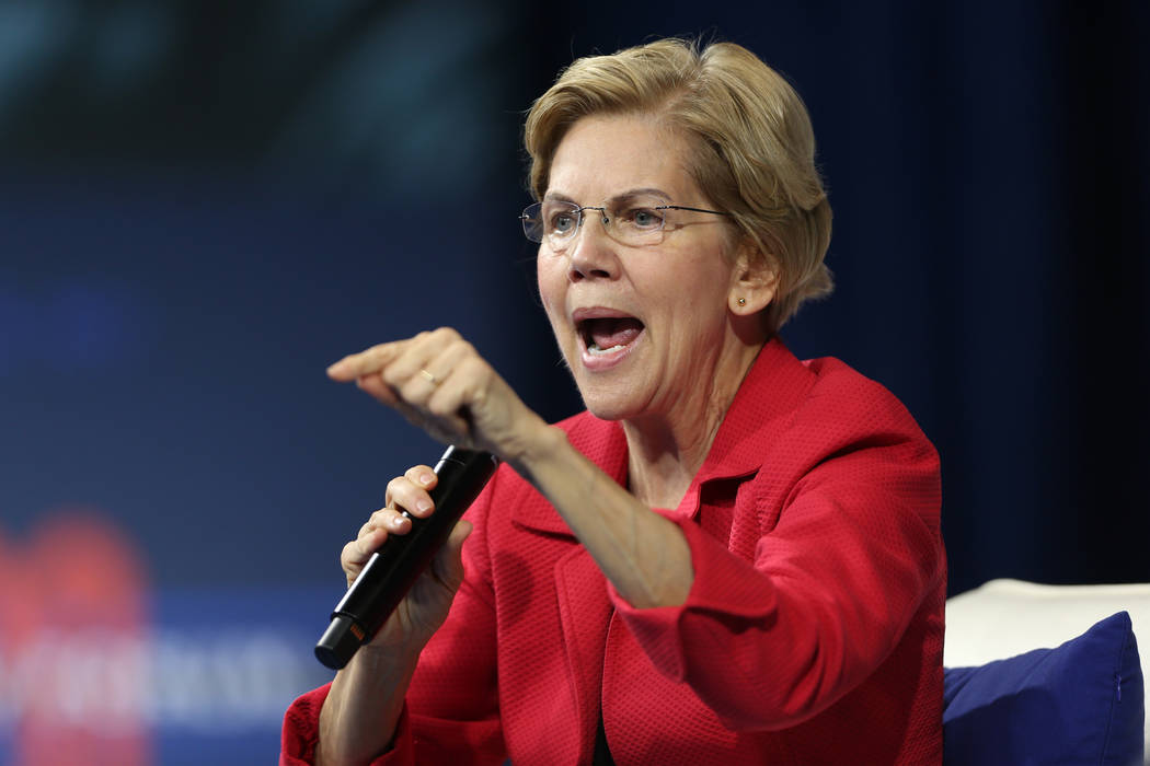 during the 2020 presidential gun safety forum at The Enclave in Las Vegas, Wednesday, Oct. 2, 2 ...