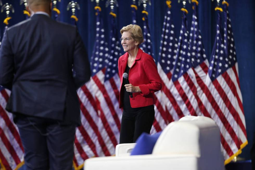 Democratic presidential candidate Elizabeth Warren takes the stage during the 2020 presidential ...