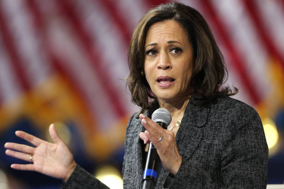 Democratic presidential candidate Kamala Harris speaks during the 2020 presidential gun safety ...