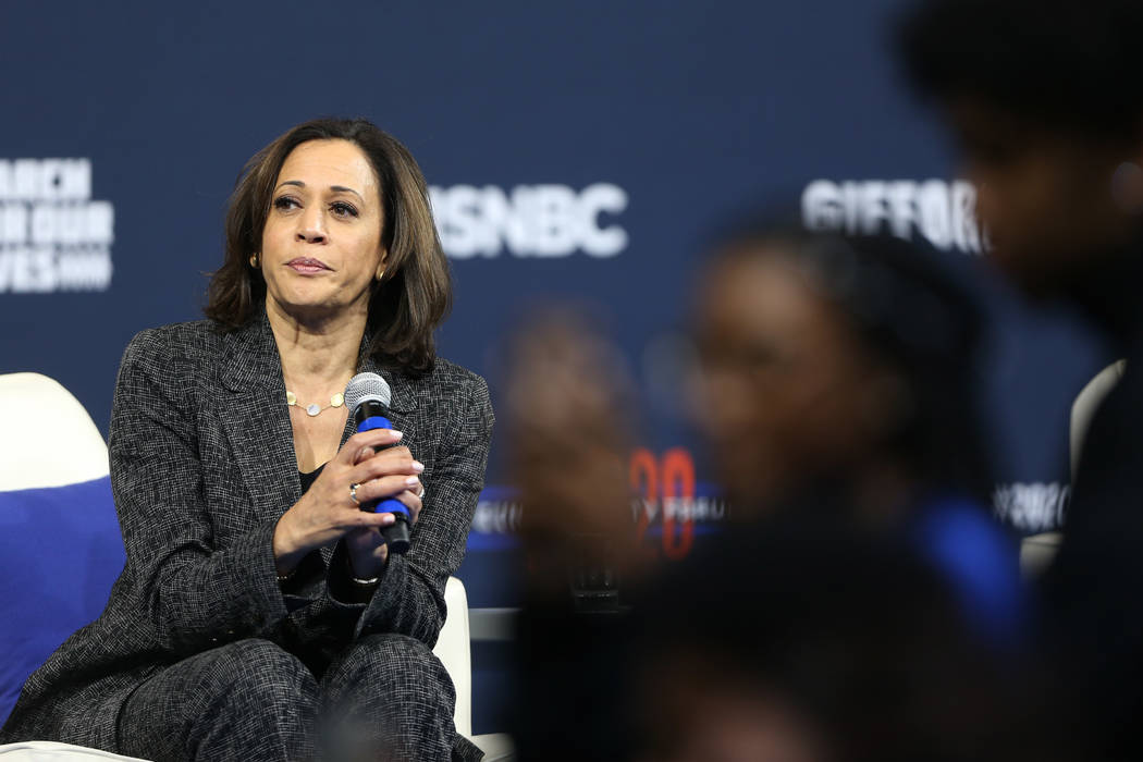 Democratic presidential candidate Kamala Harris takes a equation from the audience during the 2 ...