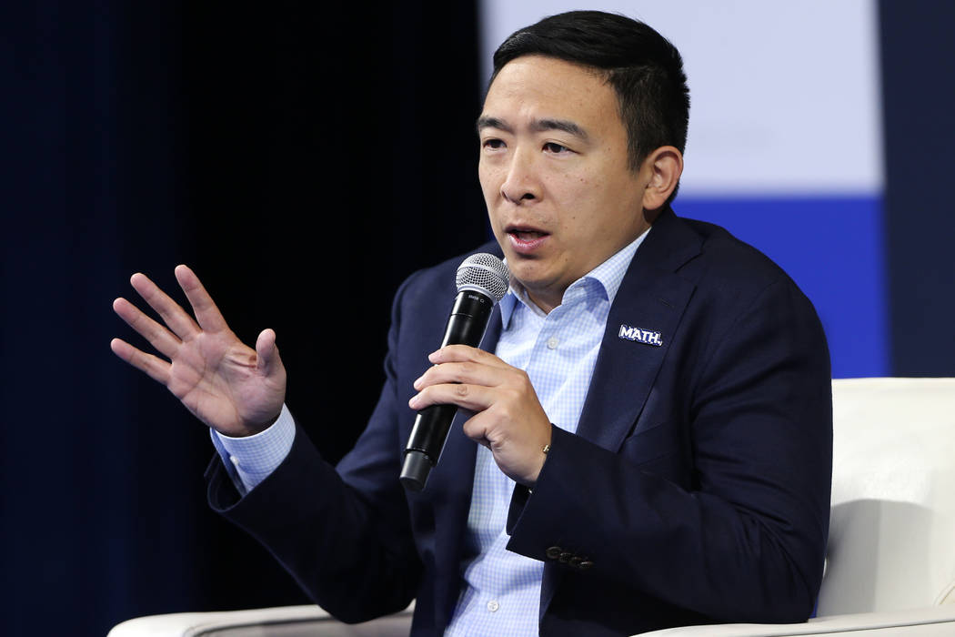 Democratic presidential candidate Andrew Yang speaks during the 2020 presidential gun safety fo ...