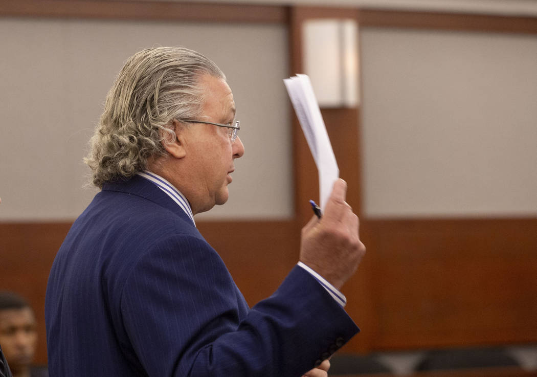 Defense lawyer David Chesnoff speaks on behalf of tech billionaire Henry Nicholas III and his g ...