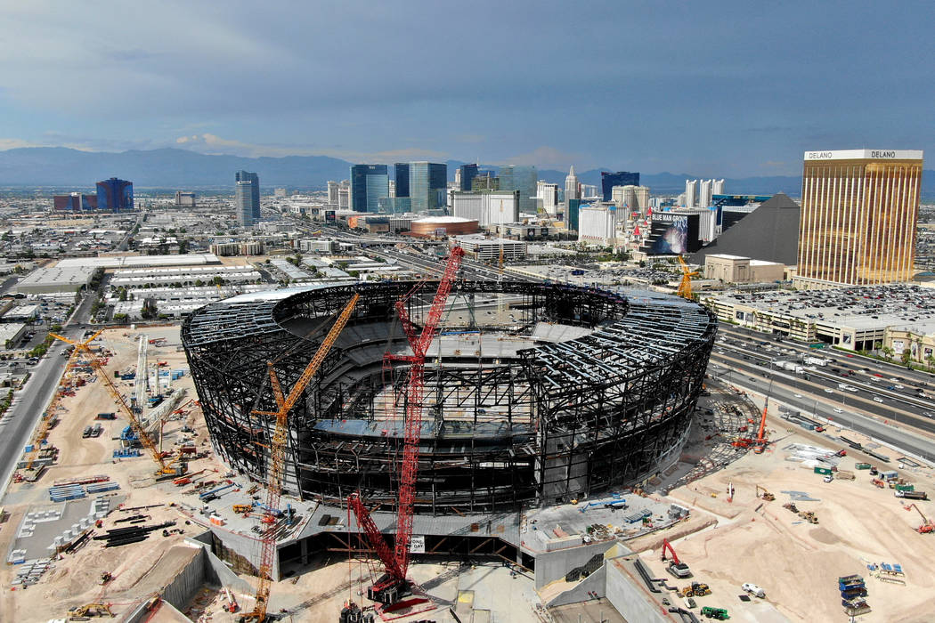 Aerial view of the Las Vegas Raiders stadium under construction on July 25, 2019. (Michael Quin ...