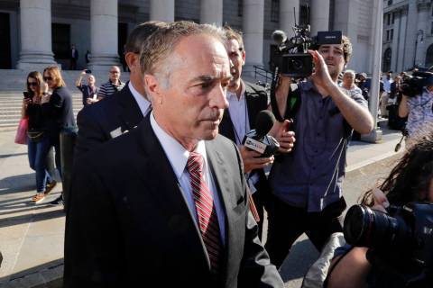 Former U.S. Rep. Chris Collins leaves federal court Tuesday, Oct. 1, 2019, in New York. Collins ...