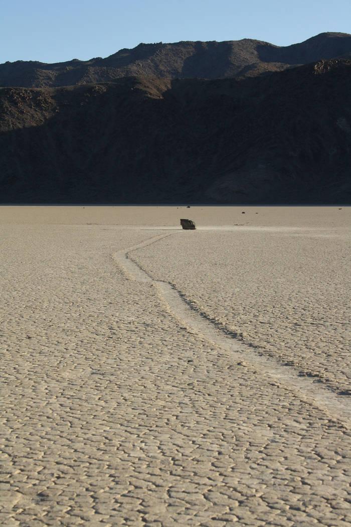 A trail left by a wandering boulder on Death Valley's Racetrack Playa. (Deborah Wall/Las Vegas ...
