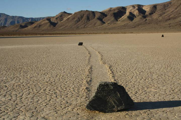 Some of the moving rocks found at Death Valley's Racetrack Playa weigh hundreds of pounds. (Deb ...