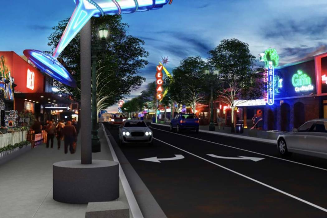 The $15 million road project on Fremont Street in downtown Las Vegas includes relocating the po ...