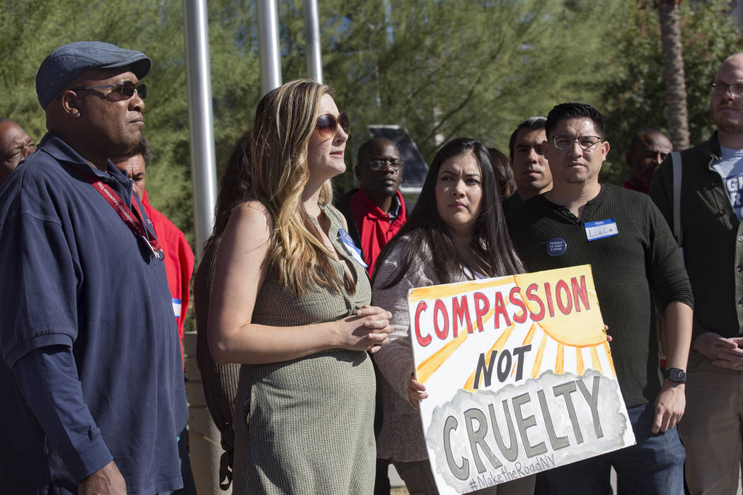 Emily Paulsen, executive director of the Nevada Homeless Alliance, addresses the media at a pro ...