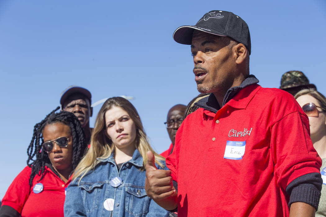 Eric Simpson, who is currently homeless, addresses the media at a protest against a proposed or ...