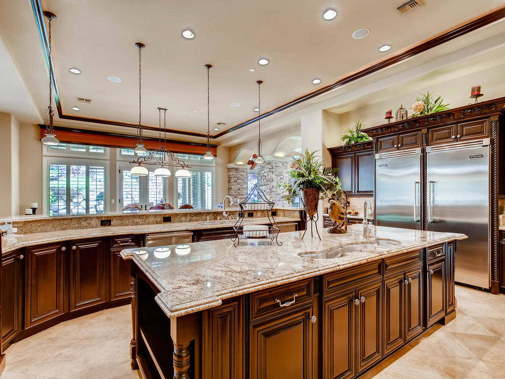 The kitchen features professional-grade appliances.