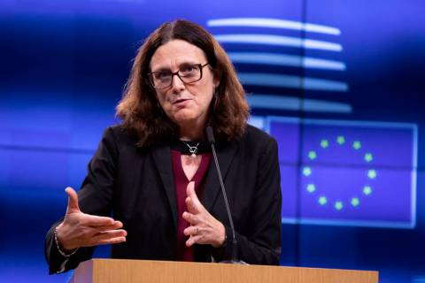 European Commissioner for Trade Cecilia Malmstrom speaks during a media conference after an inf ...