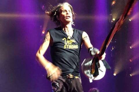 "Steven Tyler performs ""Come Together"" in a T-shirt honoring Oct. 1 shooting victims at Aerosmit ..."