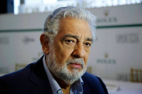 FILE - In this Aug. 26, 2014, file photo, Placido Domingo speaks at the Dorothy Chandler Pavili ...